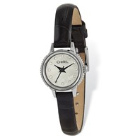 9d5c6bd9c5f7 Ladies Chisel Stainless Steel Black Leather Strap Watch