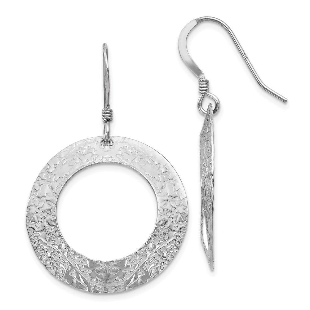 Leslie's Sterling Silver Textured Shepherd Hook Dangle EarringsVA56