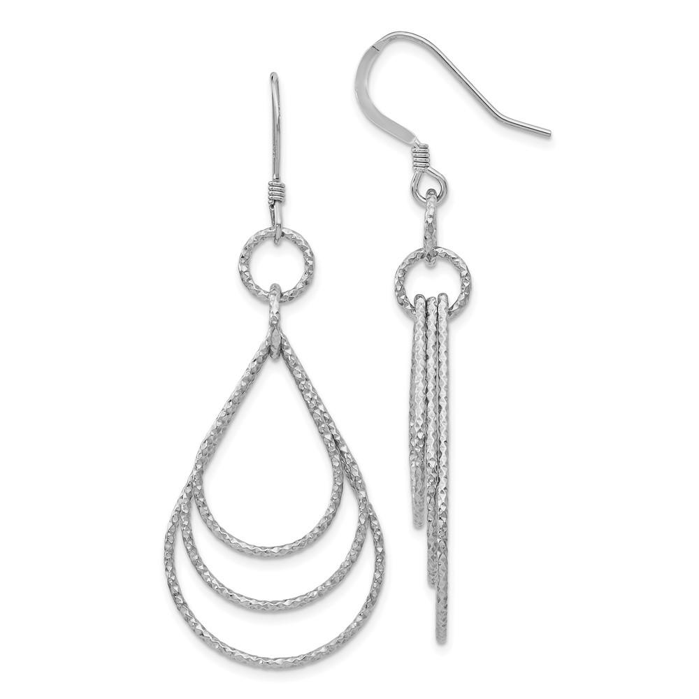 Leslie's Sterling Silver Textured Shepherd Hook Dangle EarringsVA97