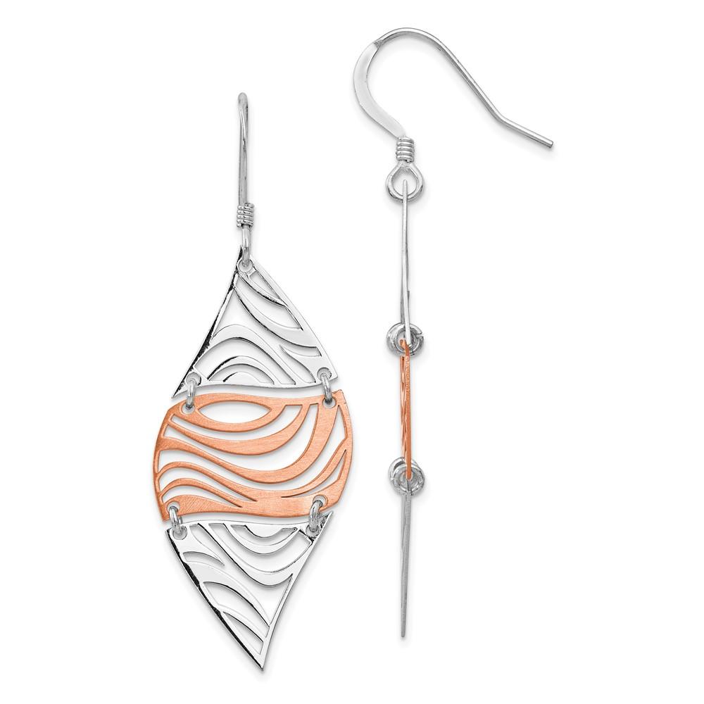 Leslie's Sterling Silver Rose-tone 18K Flash-plated Dangle EarringsVB02