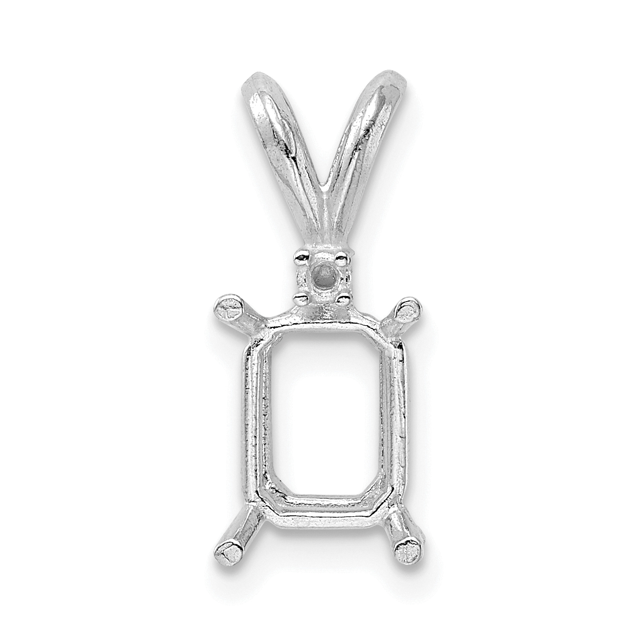 Sterling Silver Emerald 5 x 3mm Back Set Fixed Bail Pendant Setting