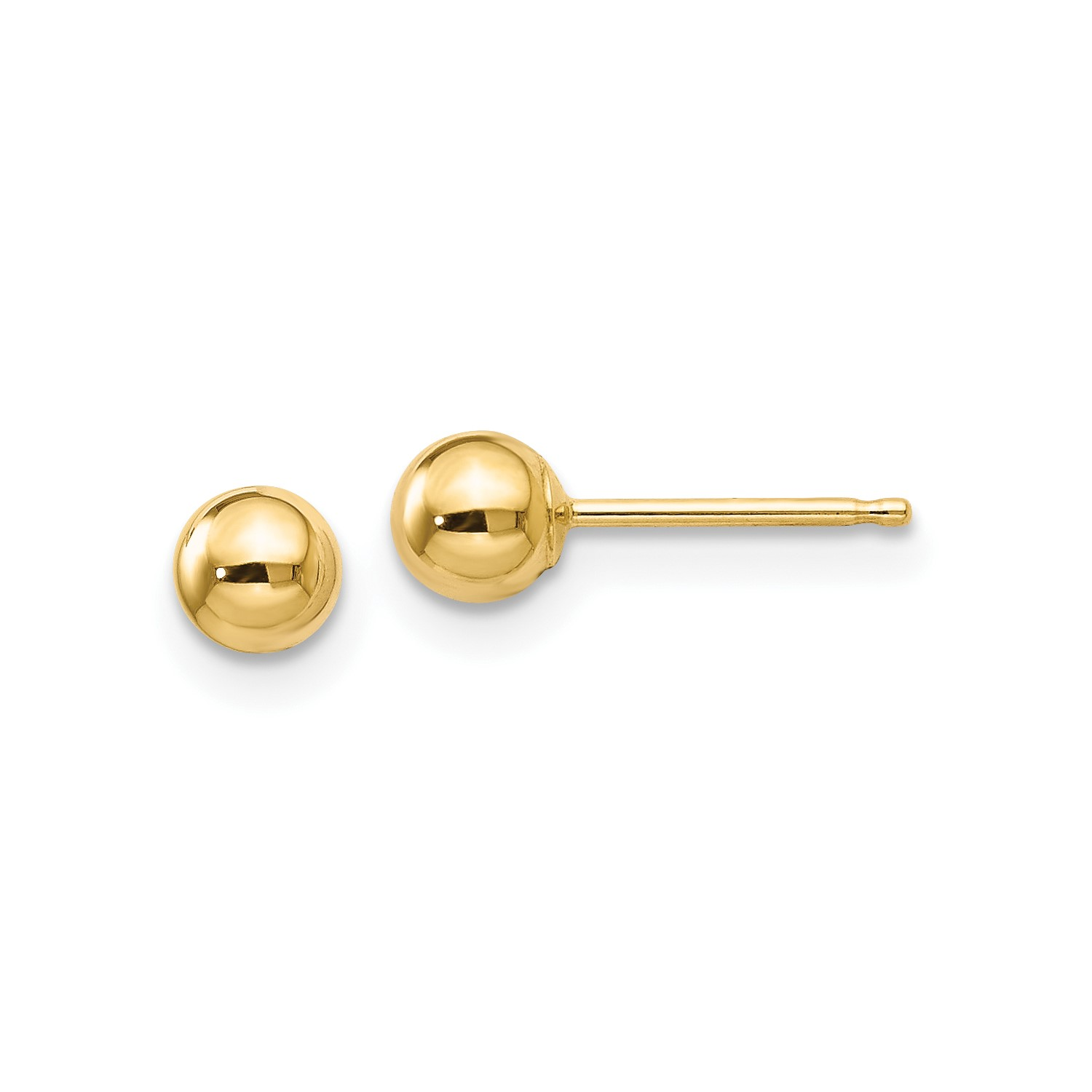 14k Yellow Gold Polished 4mm Ball Post Stud Earrings