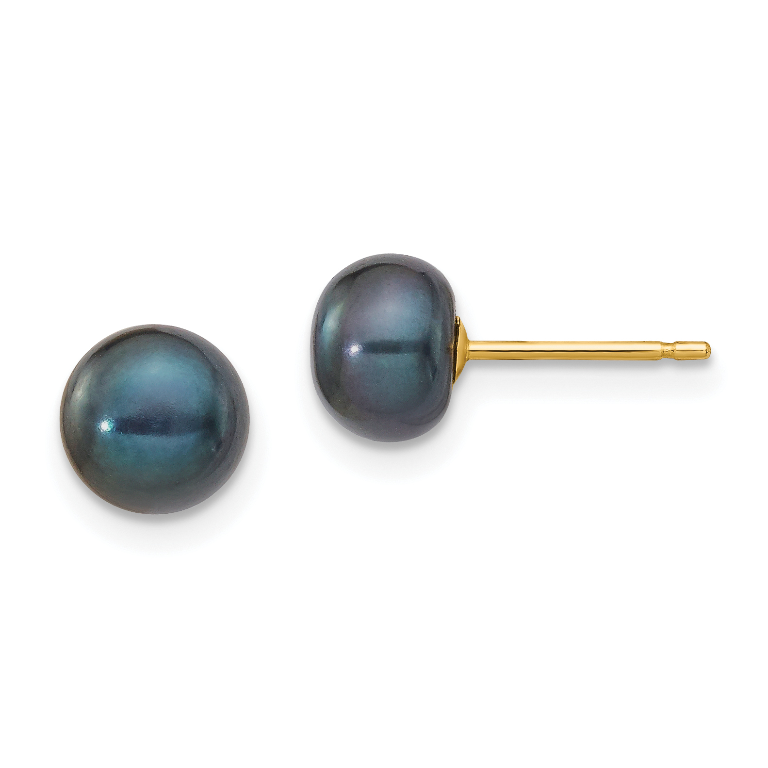 14k 6 7mm Black On Fw Cultured Pearl Stud Earrings Weight Lengh