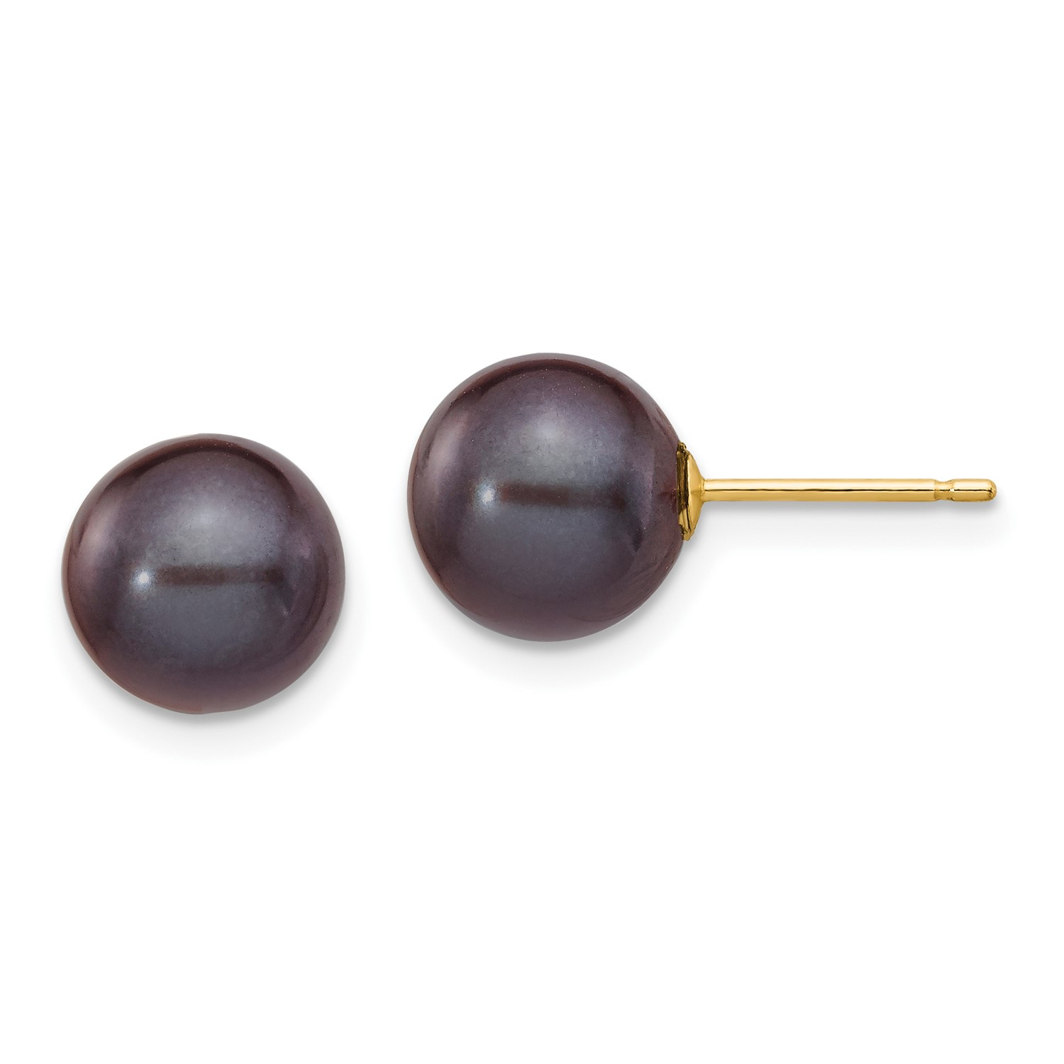 14k-Yellow-Gold-8-8-5mm-Black-Round-Freshwater-Cultured-Pearl-Stud-Earrings