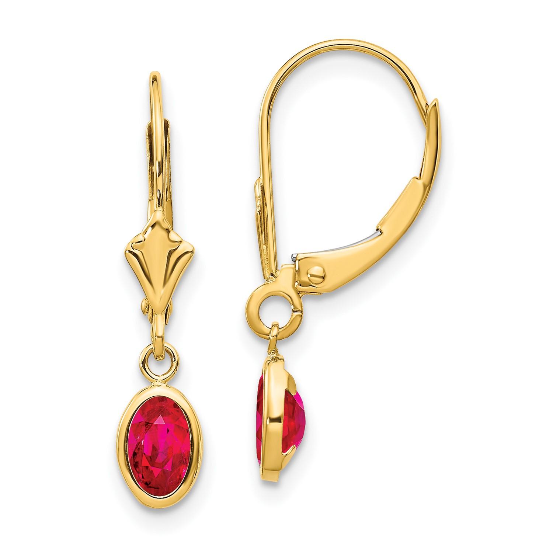 14k Yellow Gold 0.8IN Long 6x4 Oval Bezel July/Ruby Leverback Earrings