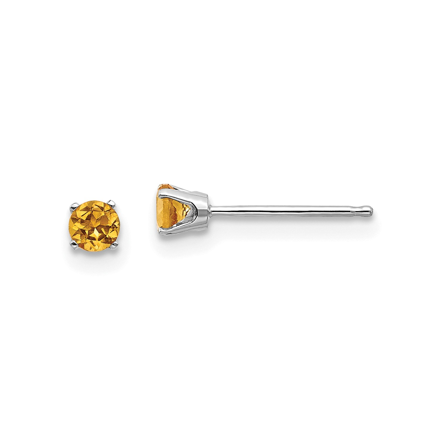 Details About 14k White Gold 3mm Synthetic Citrine Stud Earrings
