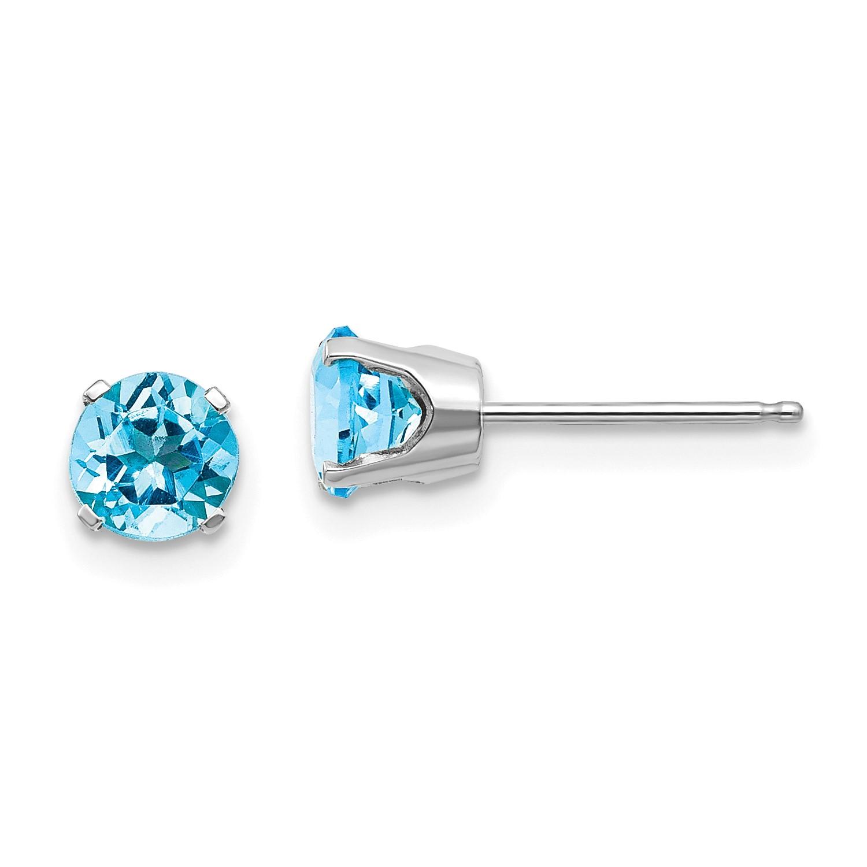 14k White Gold 5mm Blue Topaz Stud Earrings Ebay