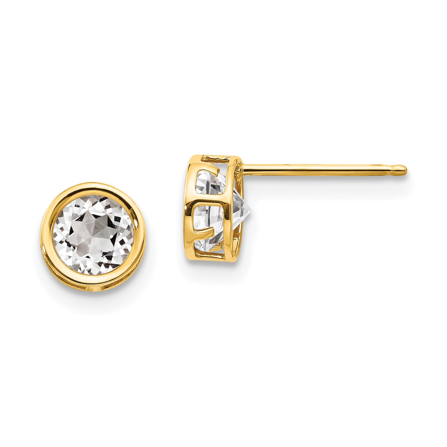 14k Yellow gold 5mm Bezel White Topaz Stud Earrings