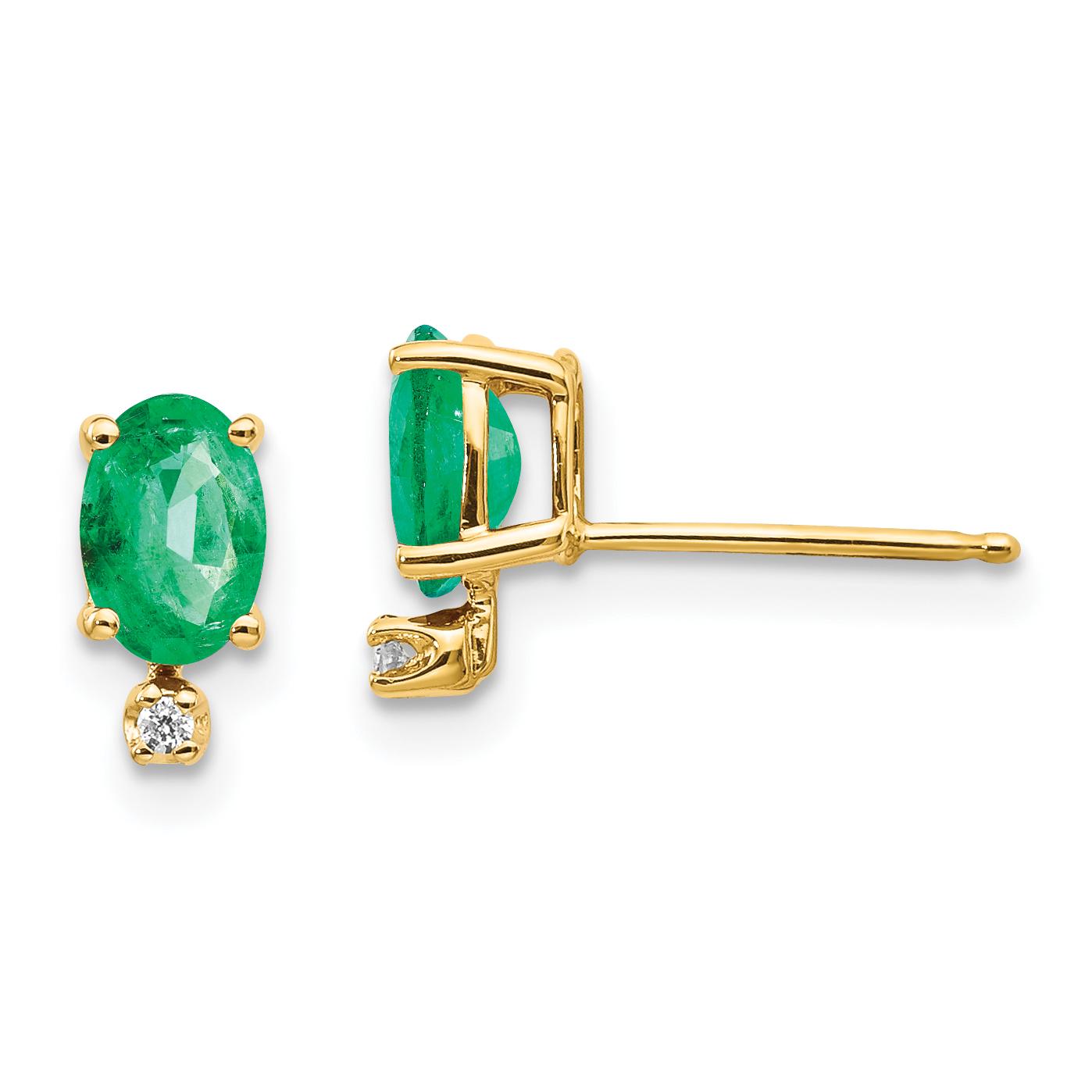 14k Diamond Emerald Birthstone Earrings