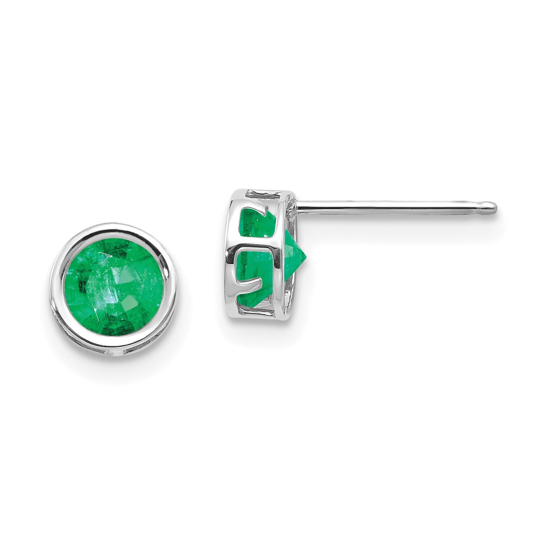 14k White Gold 5mm Bezel Emerald Stud Earrings