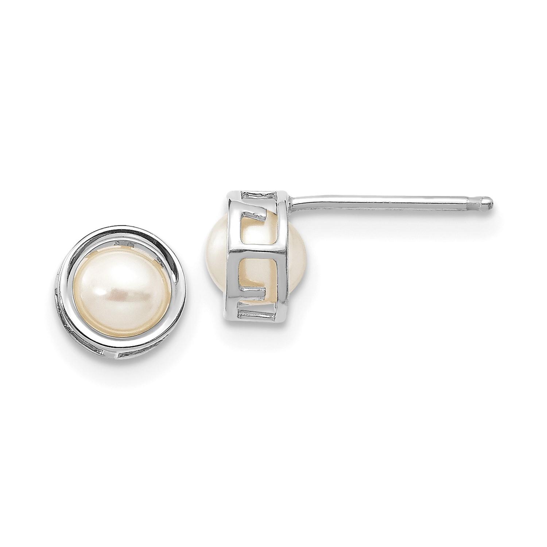 14k White Gold 5mm Bezel Cultured Pearl Stud Earrings