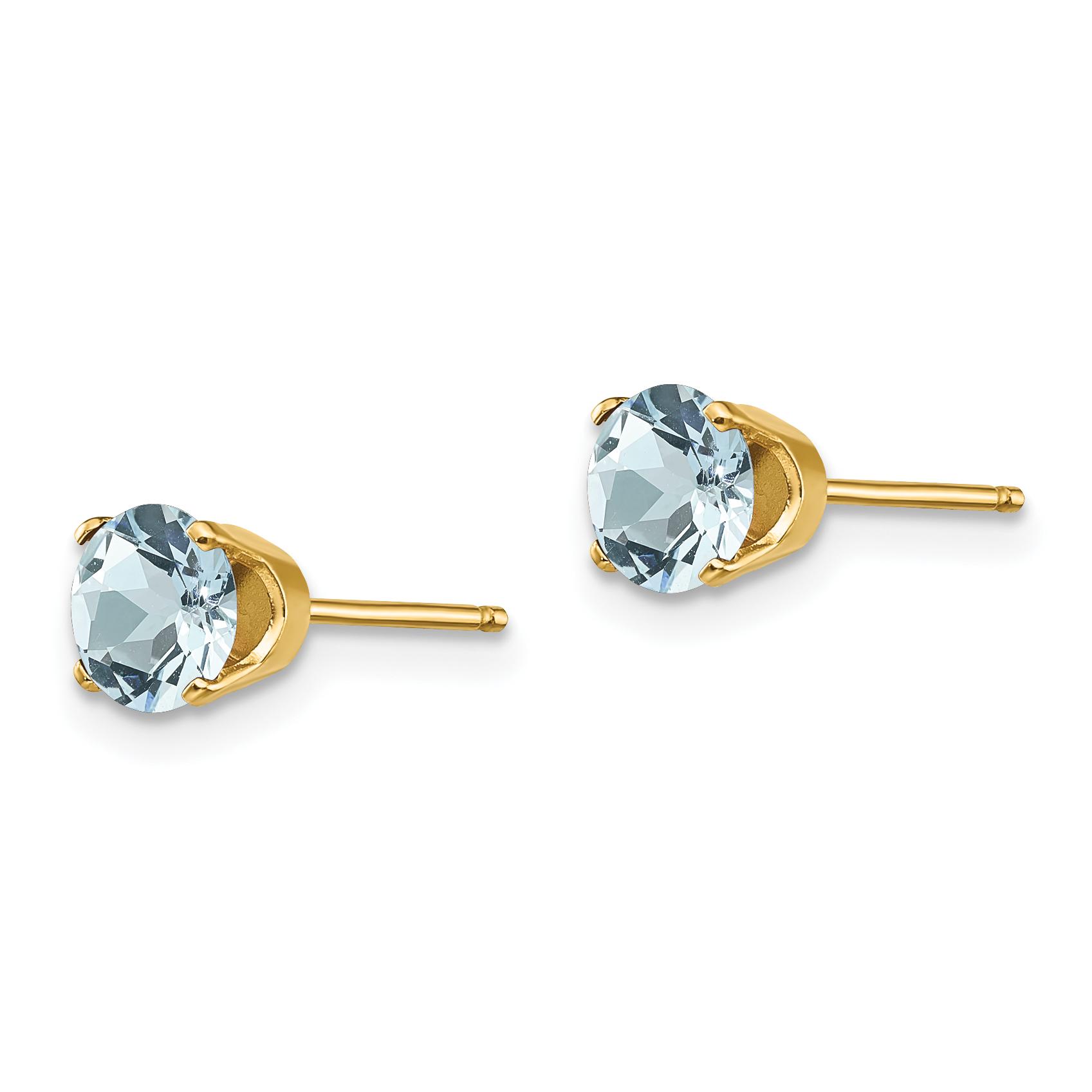 1.00CT Men//Womens 14K WG Aquamarine Round Shape Stud Earrings 5mm Each