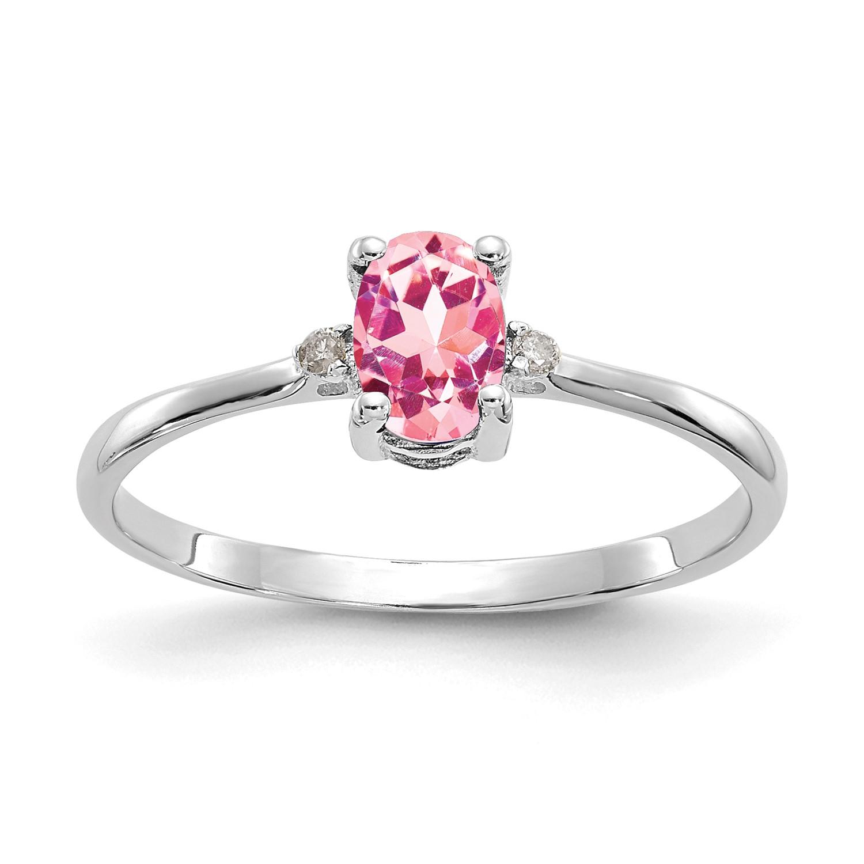 14k White Gold Diamond & 6x4 Oval Pink Tourmaline Birth month Ring 0.518ct
