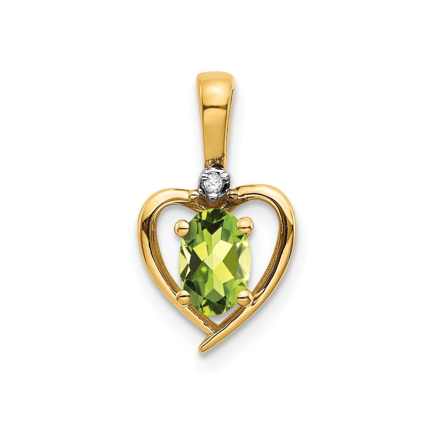 14k Yellow gold 6x4 Oval Diamond & Peridot Pendant CT Wt- 0.47ct (0.6IN long)