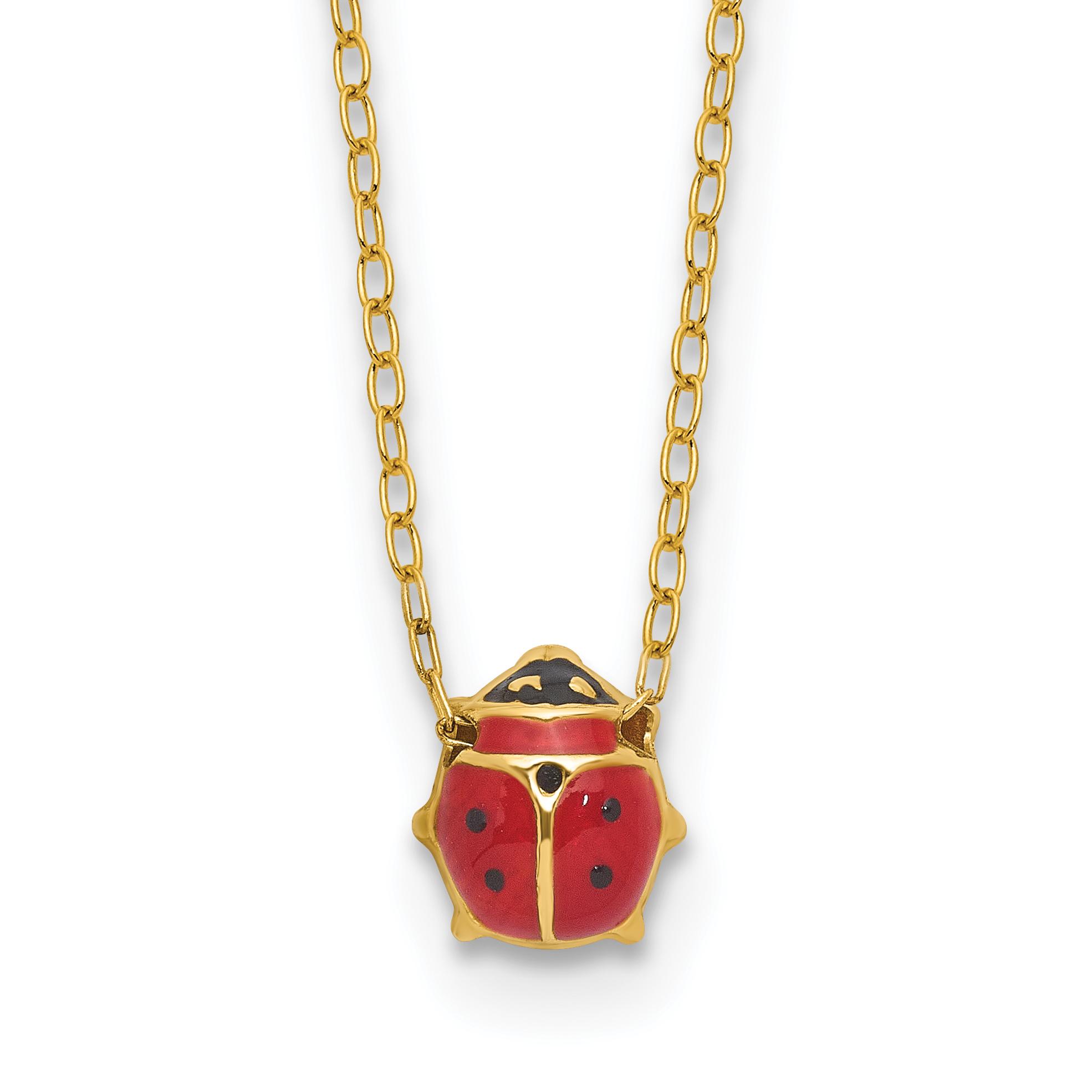 Gold 18k with enamelled ladybug necklace
