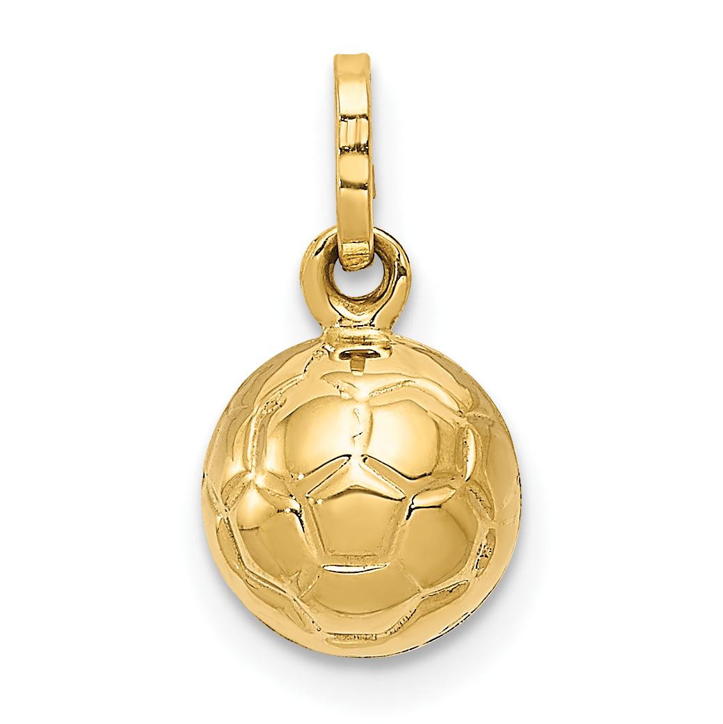 14k Yellow Gold Charm Bracelet: 14k Yellow Gold 3 D Soccer Ball Pendant Charm Necklace