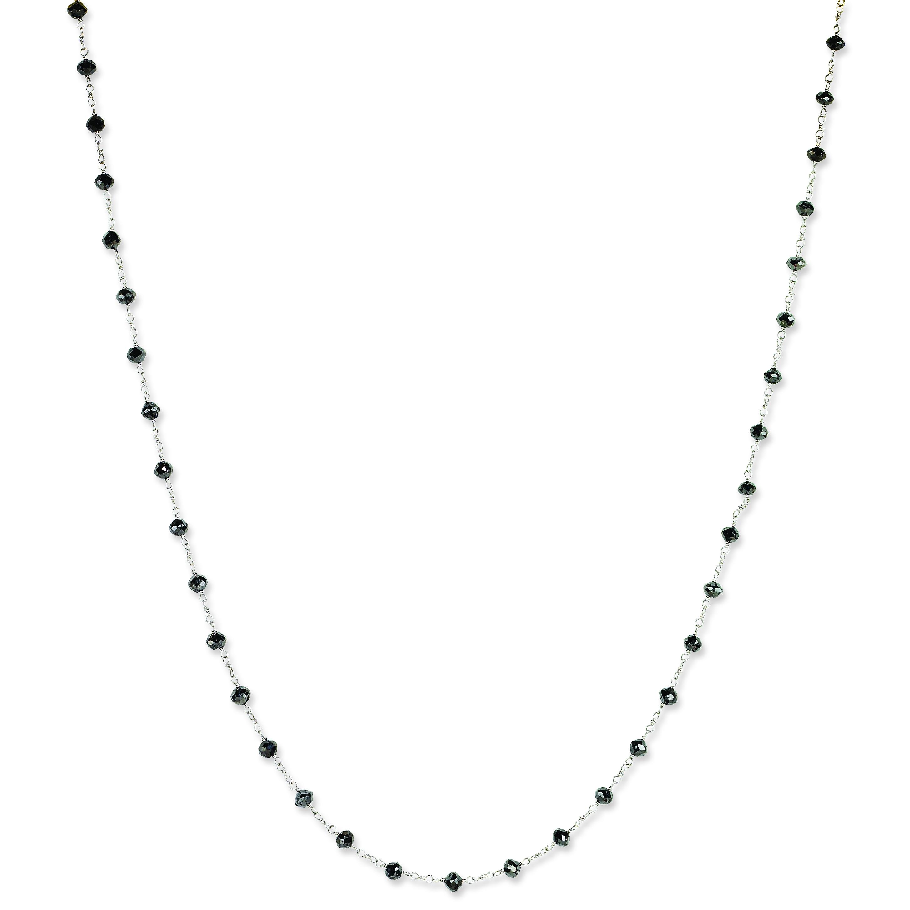 14k White Gold Black Diamond Briolette Necklace