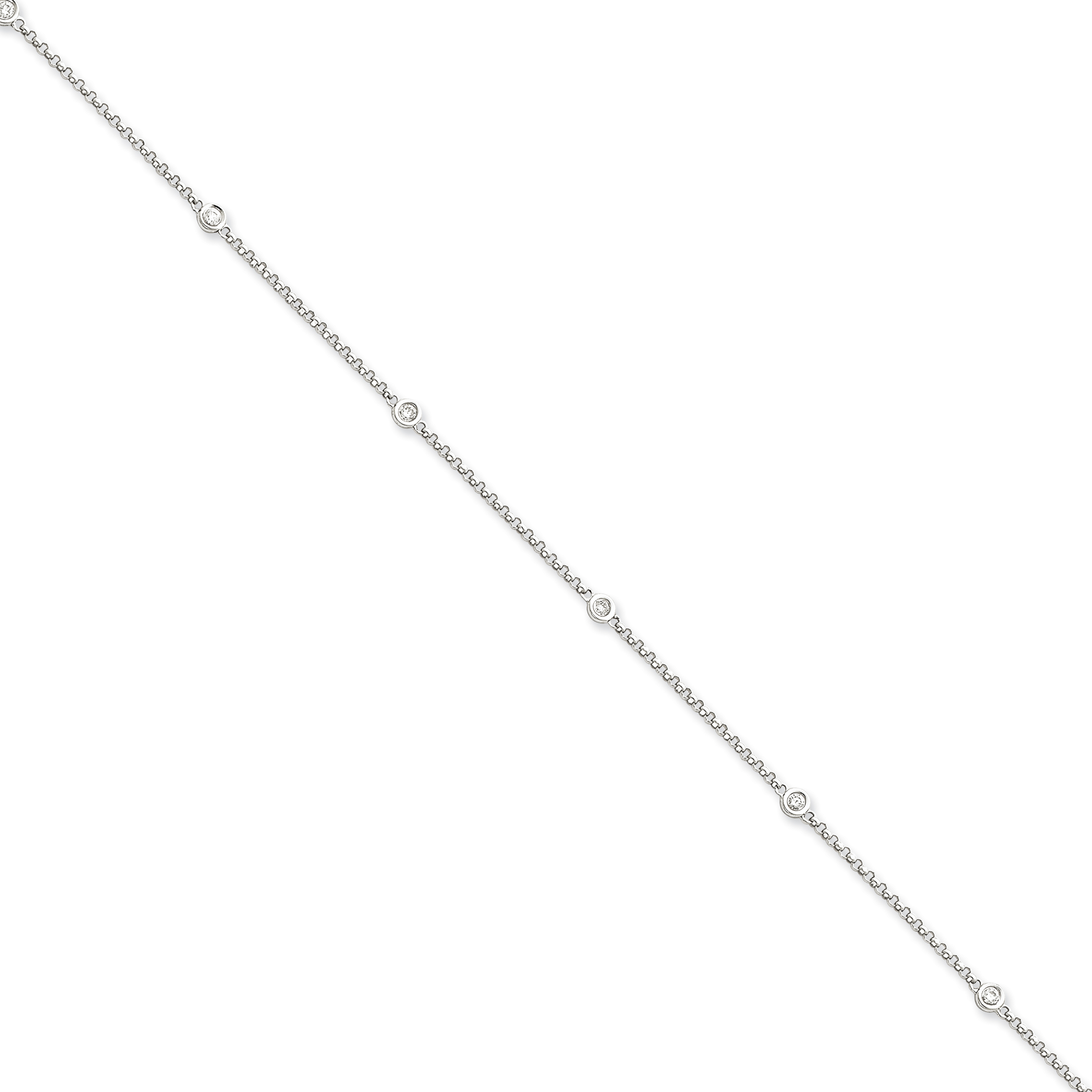 14k White Gold Diamond Rolo Anklet