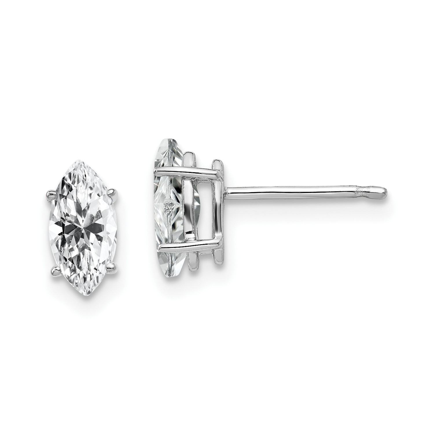 Image Is Loading 14k White Gold 8x4mm Marquise Cubic Zirconia Earrings