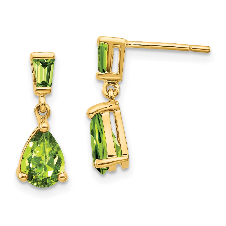 762b74747 14k Yellow Gold 0.6IN Long Peridot Dangle Post Earrings | eBay