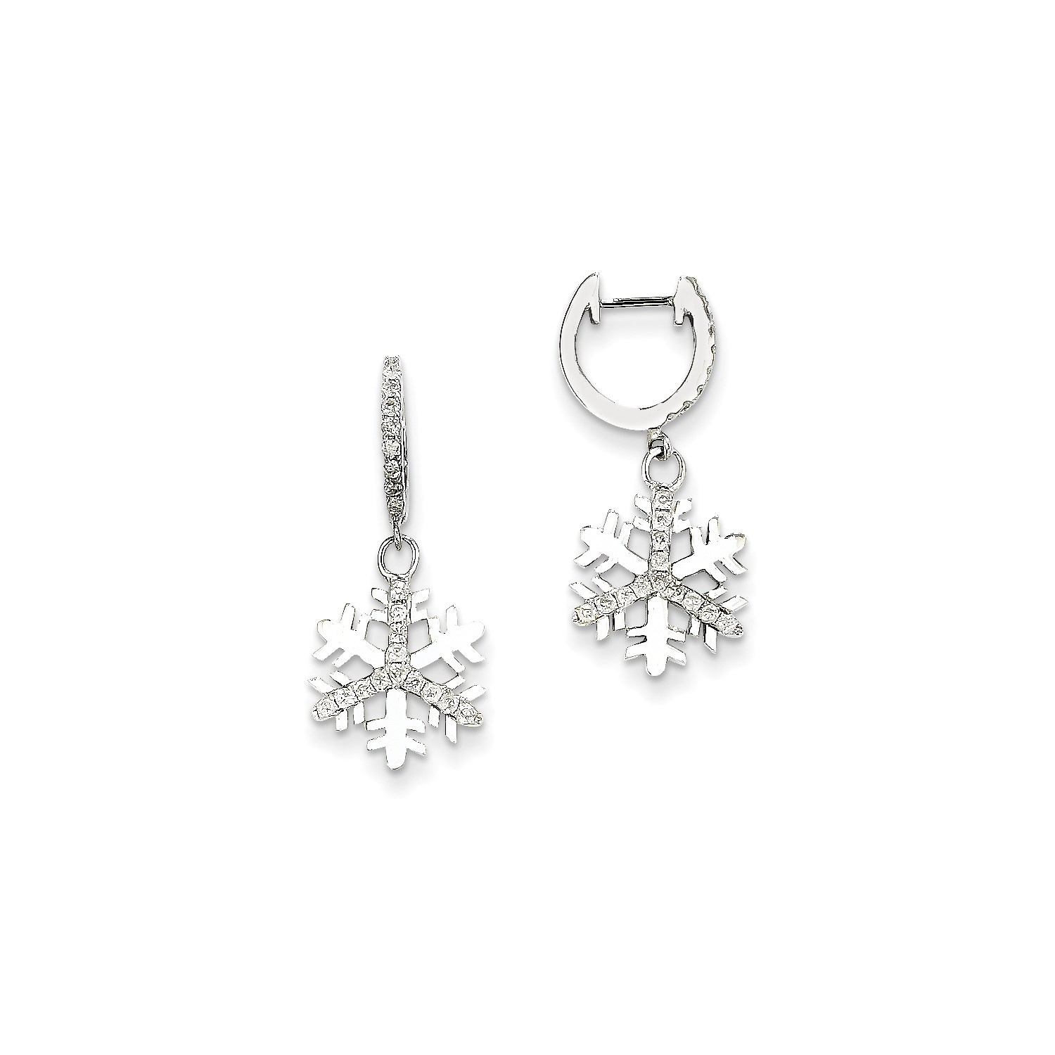 Image Is Loading 14k White Gold Diamond Small Snowflake Earrings Ct