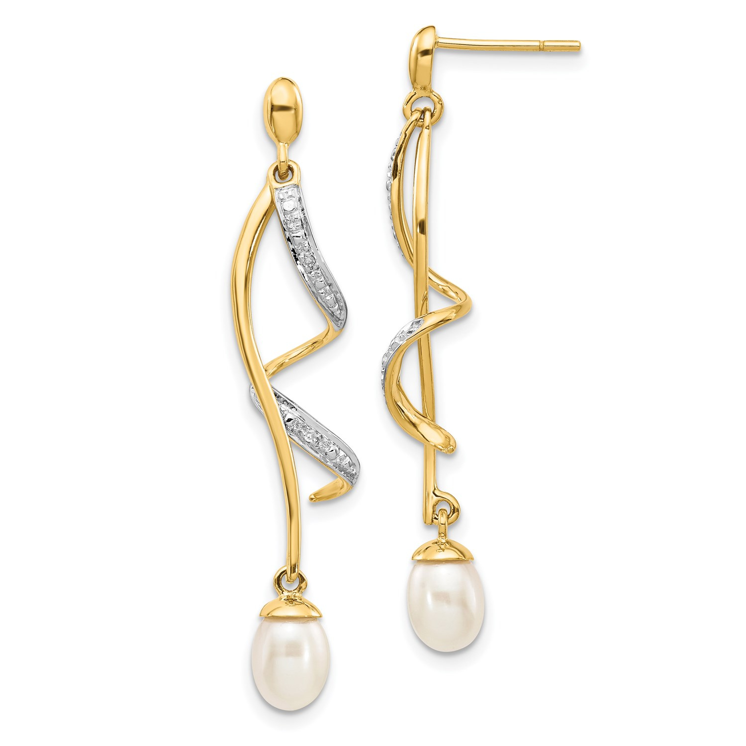 9004652e9 14k Yellow Gold 1.6IN Long Diamond and FW Cultured Pearl Post Dangle  Earrings