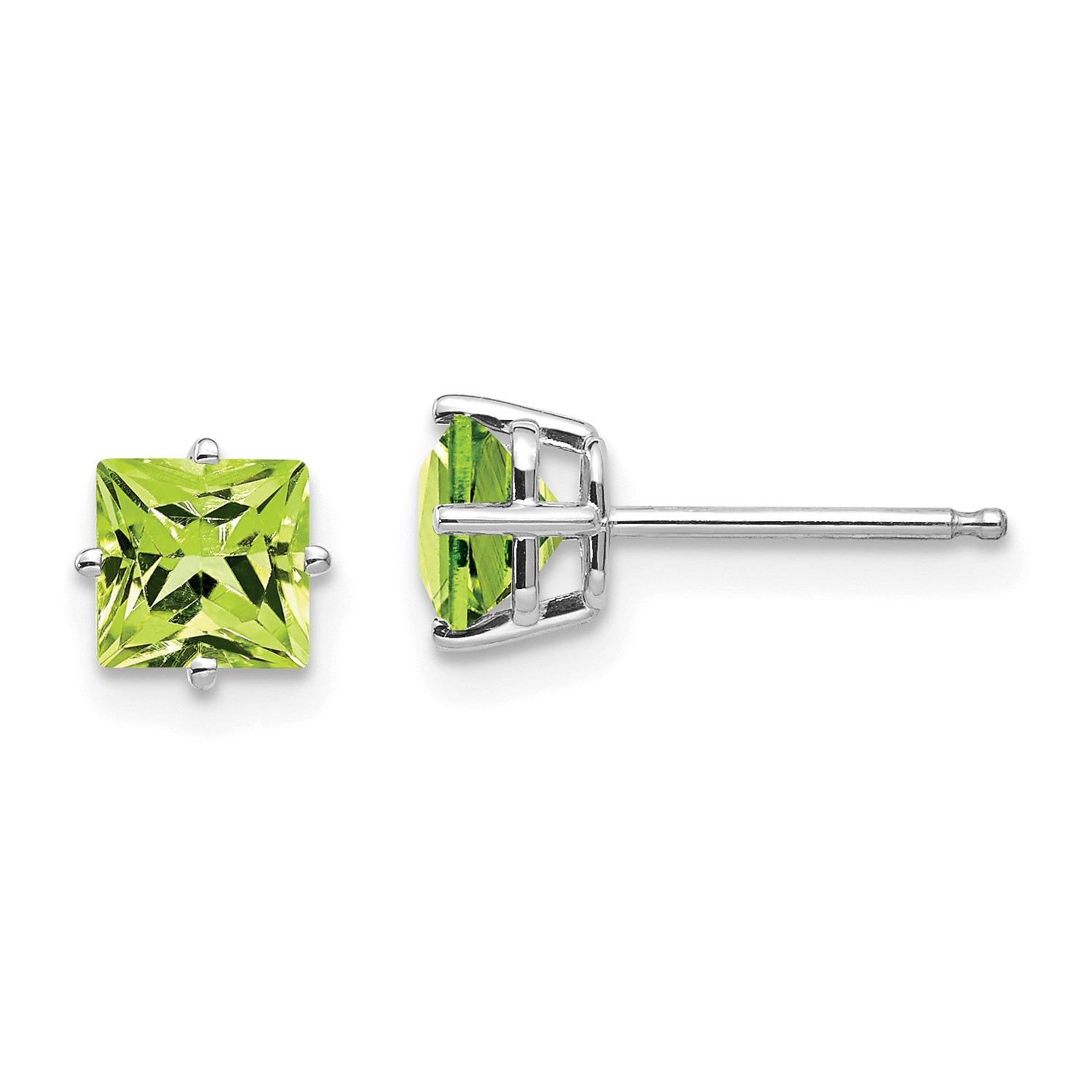 14k White Gold 5mm Princess Cut Simluated Peridot Earrings Gem Wt 1 44ct