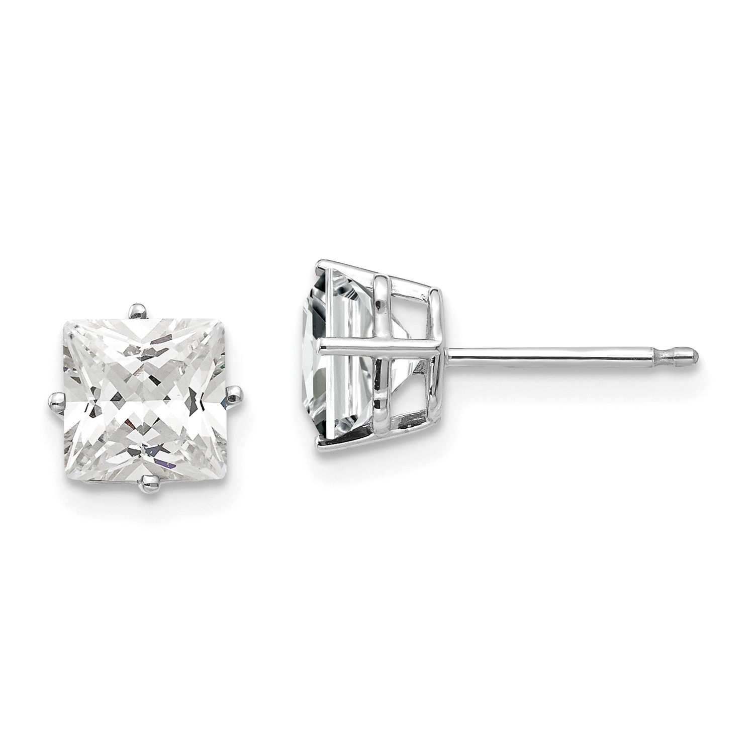 Image Is Loading 14k White Gold 6mm Princess Cut Synthetic Cubic