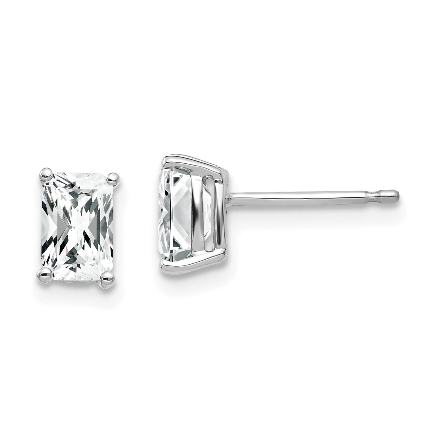 Image Is Loading 14k White Gold 6x4mm Emerald Cut Cubic Zirconia