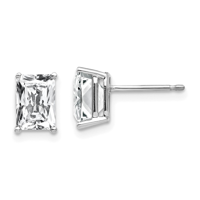 14k White Gold 7x5mm Emerald Cut Cubic Zirconia Earrings