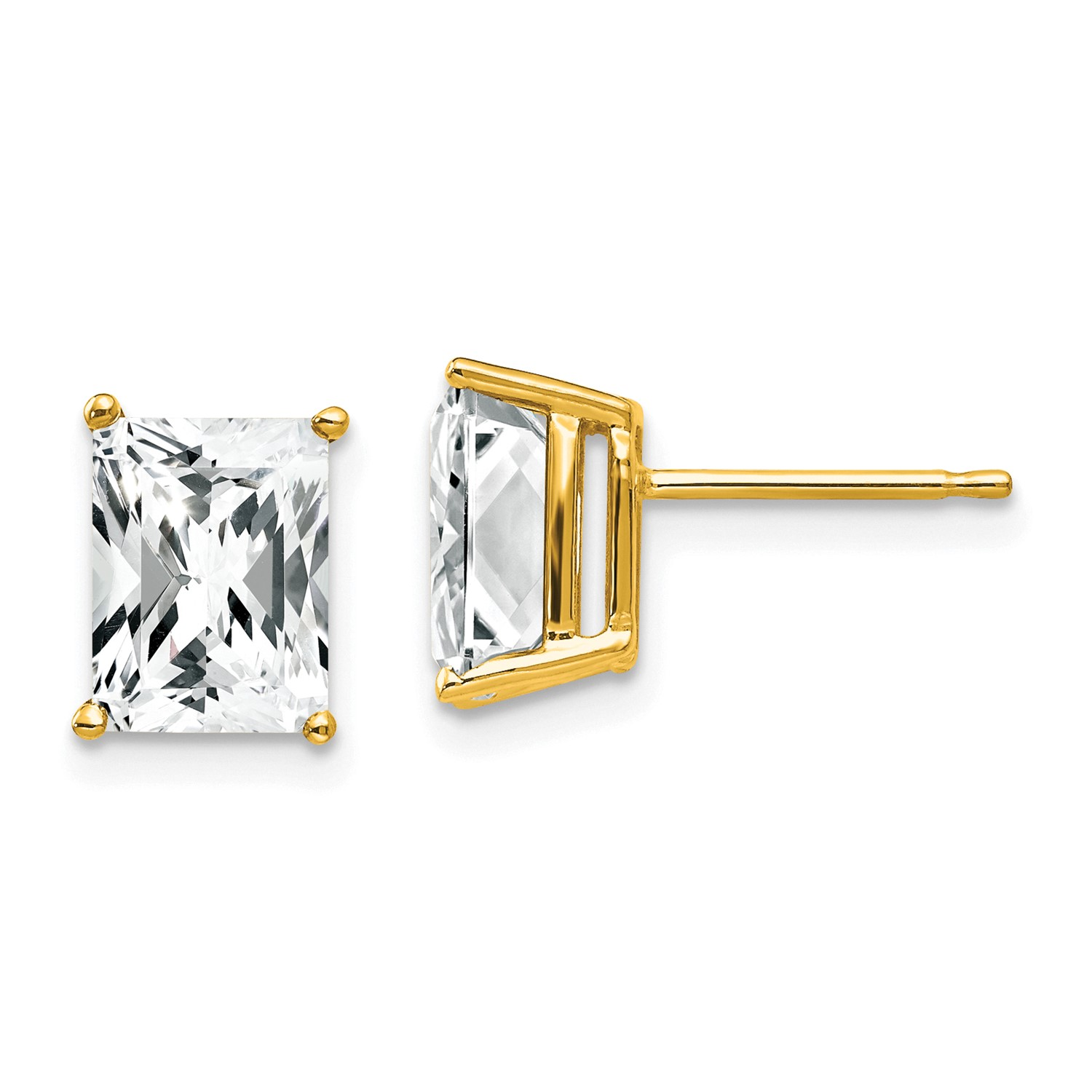 Image Is Loading 14k Yellow Gold 8x6mm Emerald Cut Cubic Zirconia
