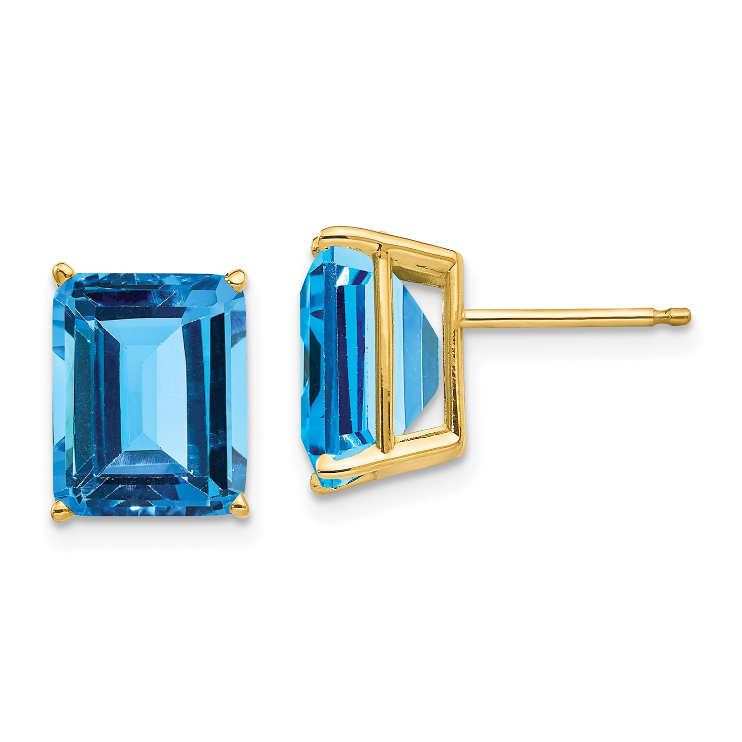 Image Is Loading 14k Yellow Gold 10x8mm Emerald Cut Blue Topaz