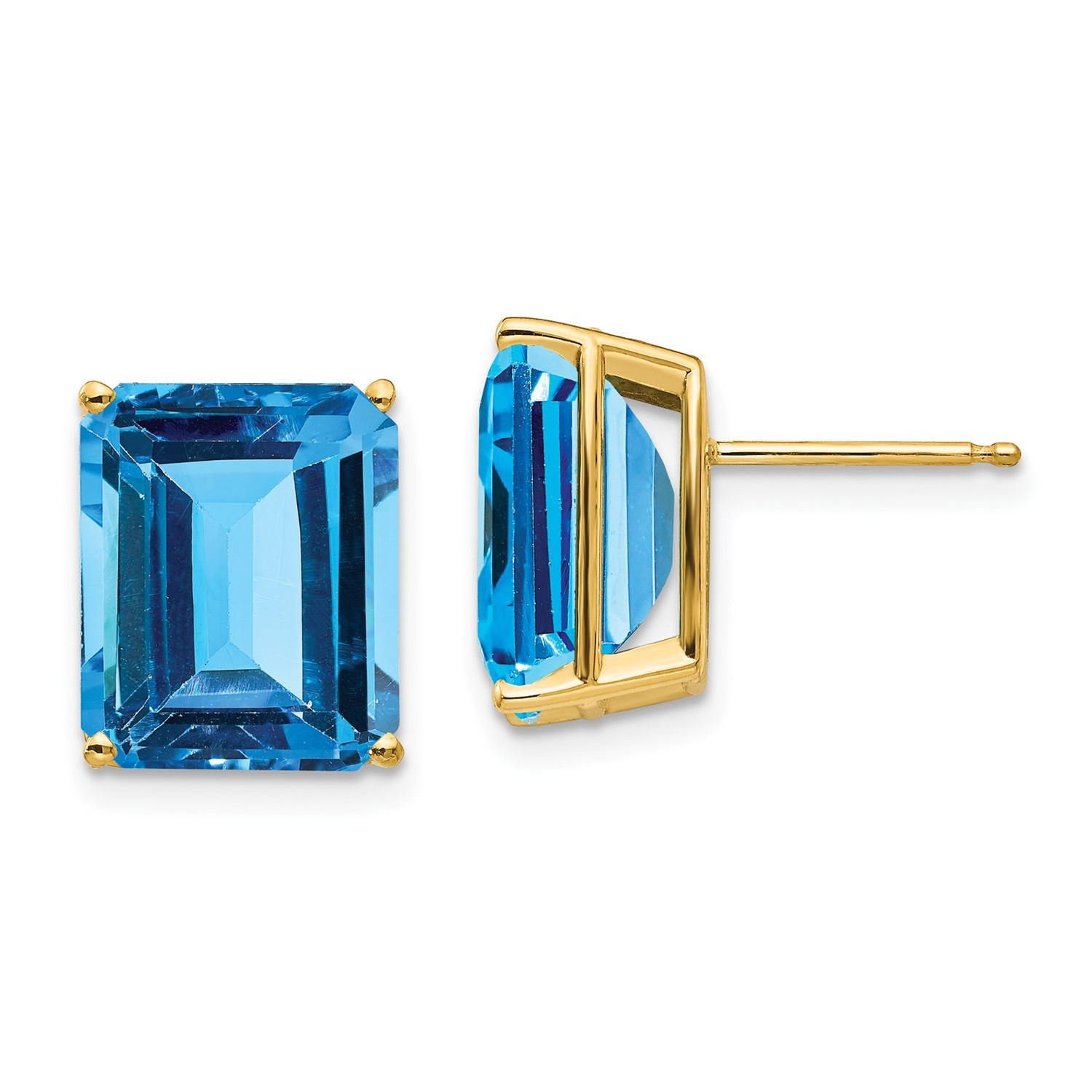 Details About 14k Yellow Gold 12x10mm Emerald Cut Blue Topaz Earrings 15ct 0 4in X 3in