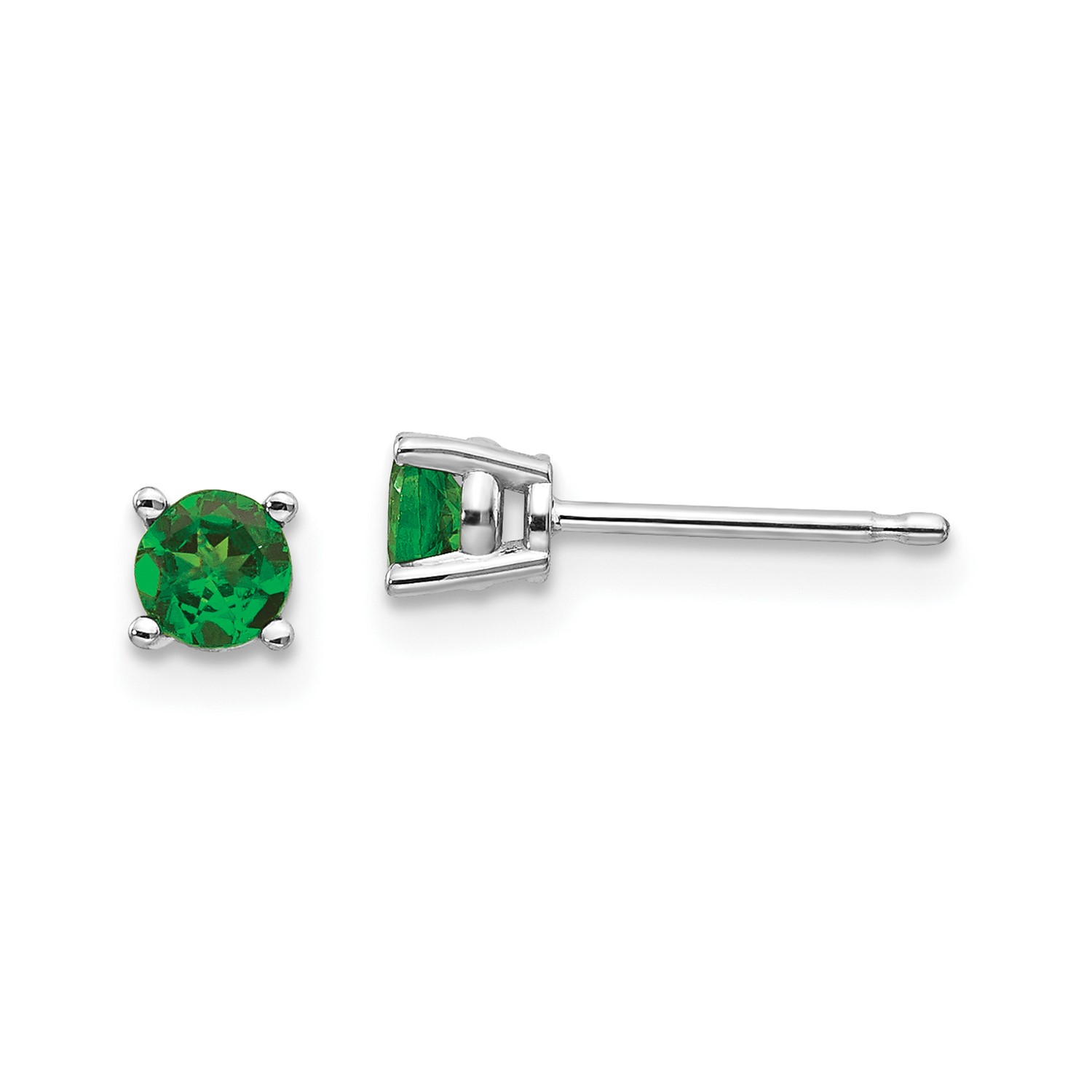 14k White Gold Tsavorite Post Back Stud Earrings Gem Wt 0 64ct 4mm