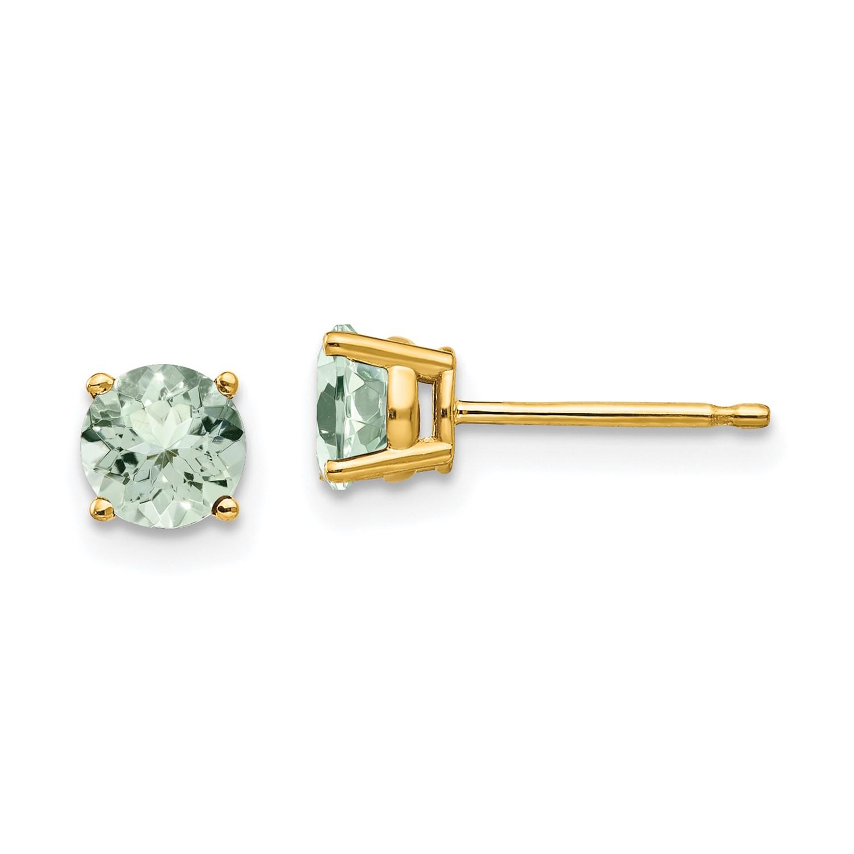 14k Yellow Gold 5mm Round Green Amethyst Earrings Gem Wt 0 9ct