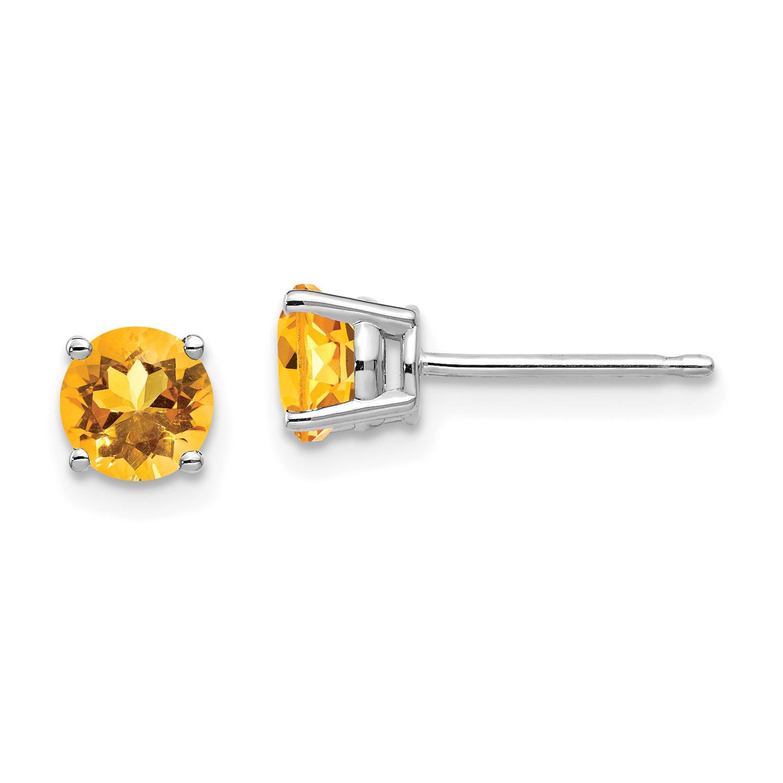 Image Is Loading 14k White Gold 5mm Citrine Earrings
