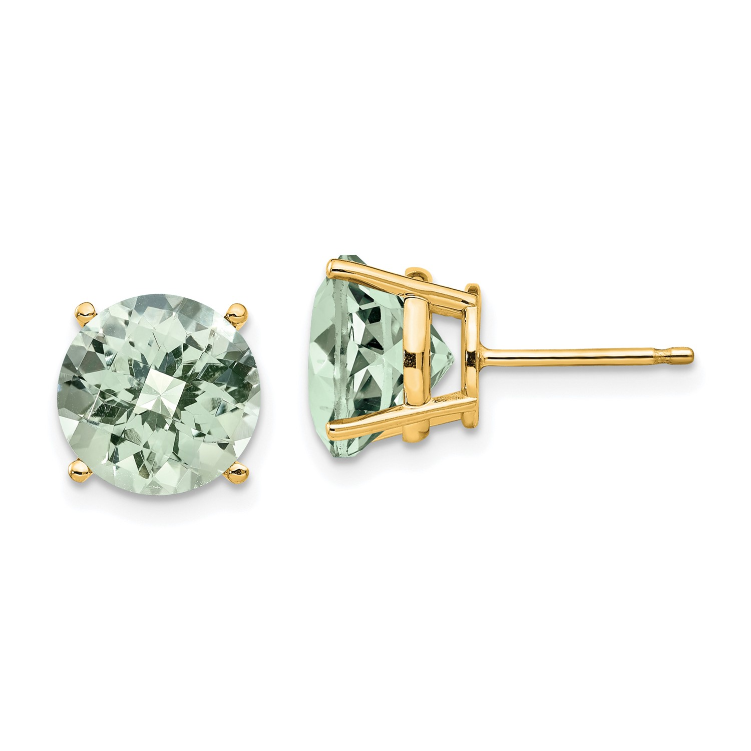 Image Is Loading 14k Yellow Gold 10mm Round Green Amethyst Earrings