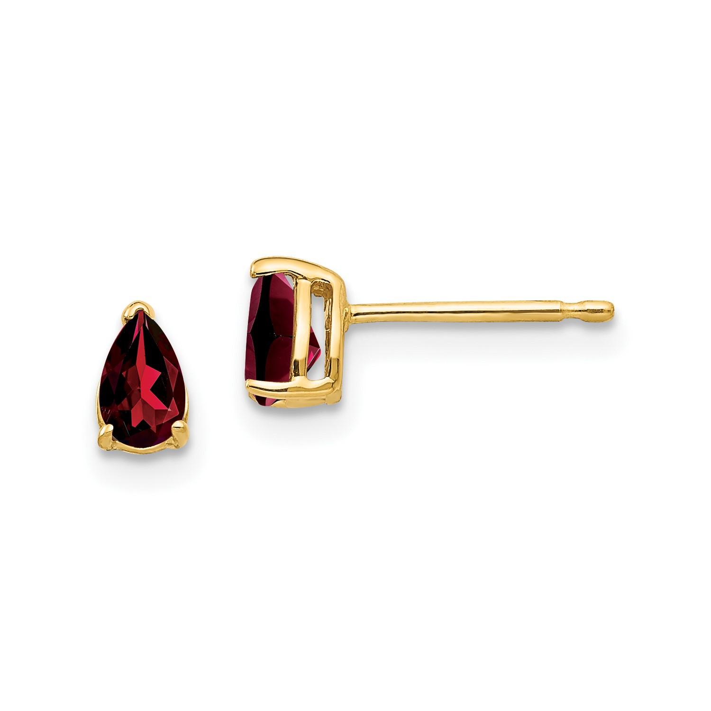 14k Yellow gold 5x3mm Pear Garnet Earrings. Gem Wt- 0.6ct
