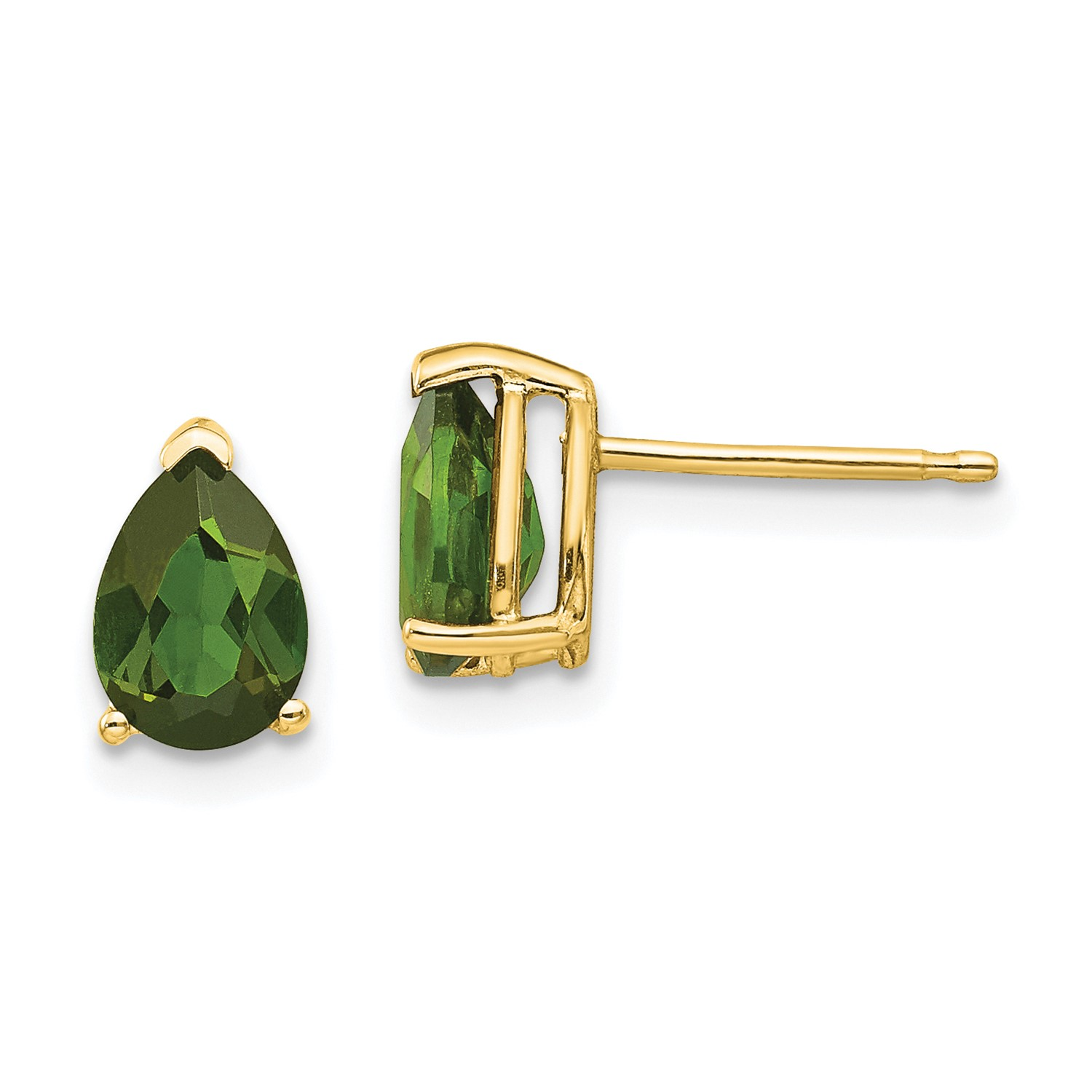 Image Is Loading 14k Yellow Gold Green Tourmaline Post Back Stud