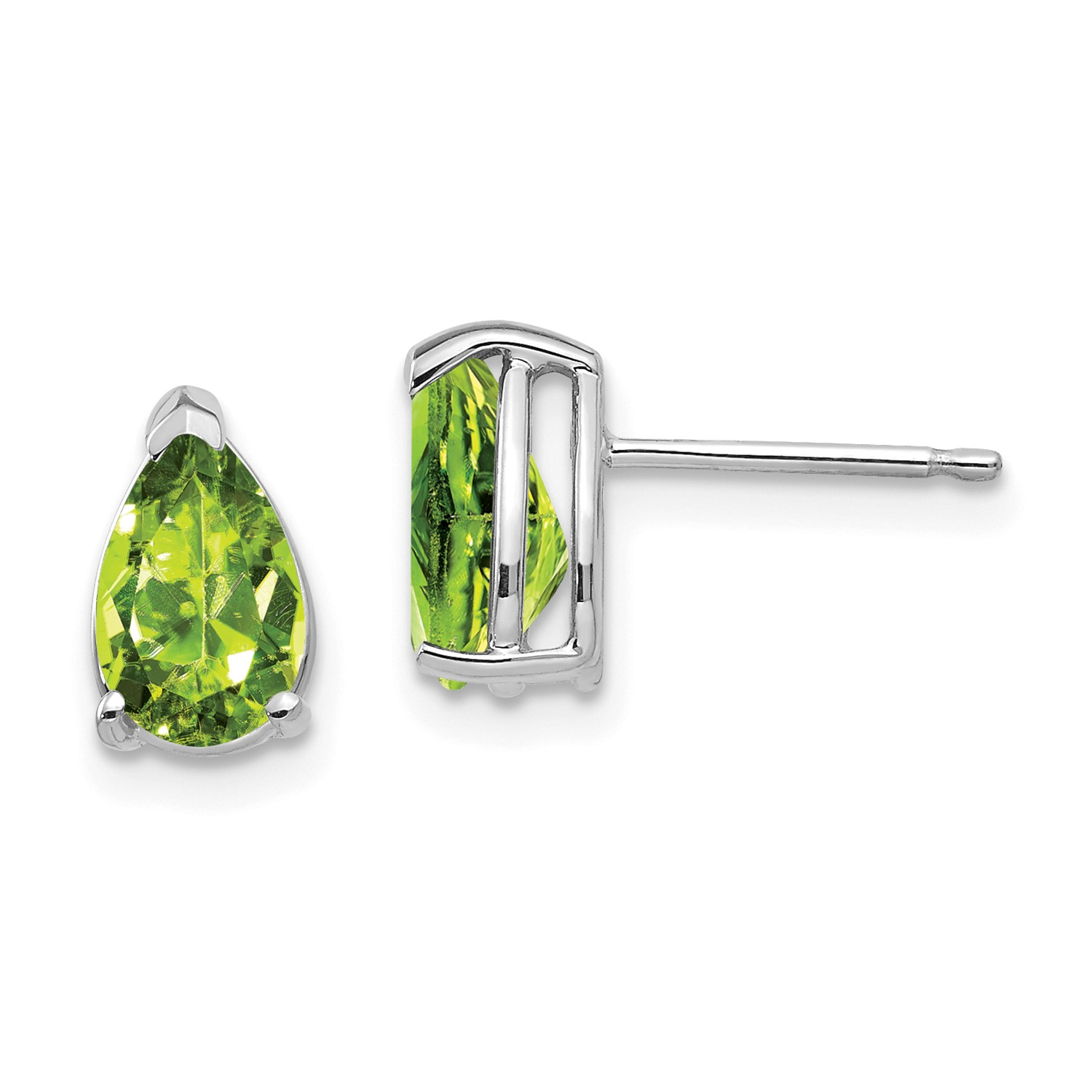 14k White Gold 8x5mm Pear Peridot Earrings Gem Wt 1 94ct 9mm X