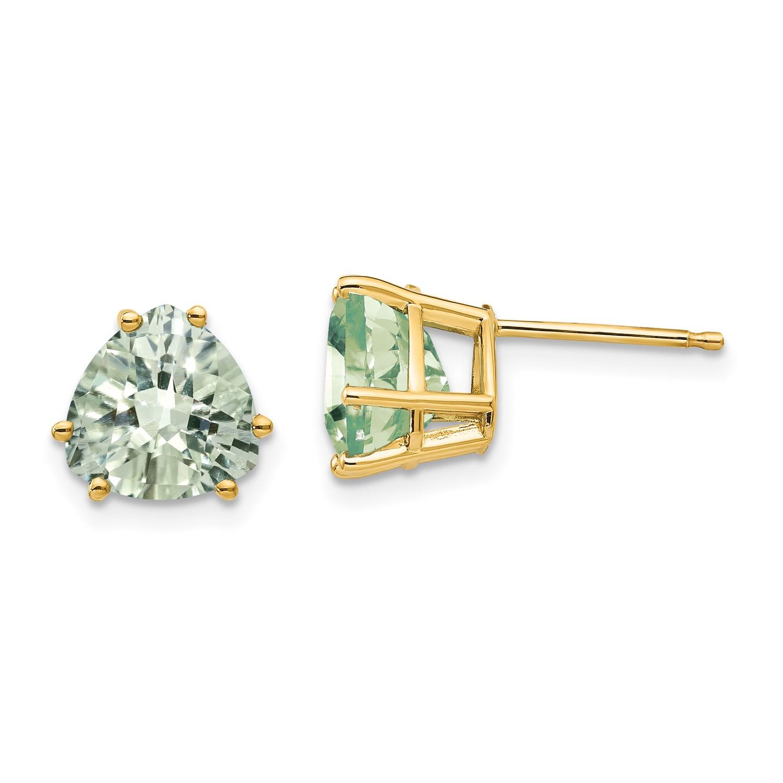 Image Is Loading 14k Yellow Gold 8mm Trillion Green Amethyst Earrings