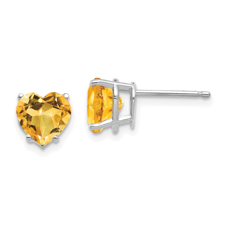Image Is Loading 14k White Gold 7mm Heart Citrine Earrings Gem