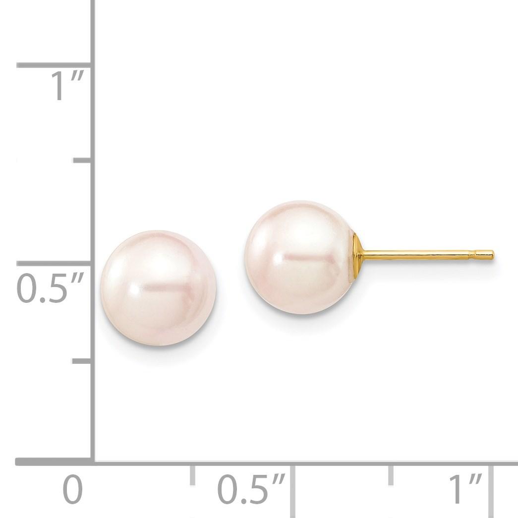 4651aa95ed4d 14k amarillo oro 7 -7.5 mm blanco agua salada cultivadas perlas pendientes