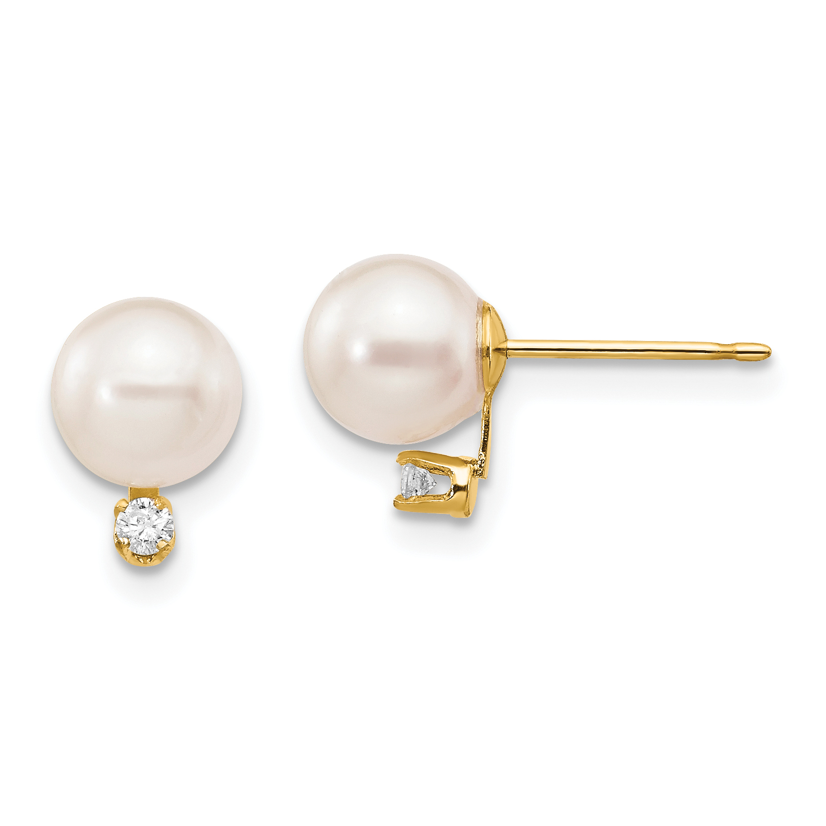 14kt Gold 4-5mm Round White Saltwater Akoya Cultured Pearl Post Earrings