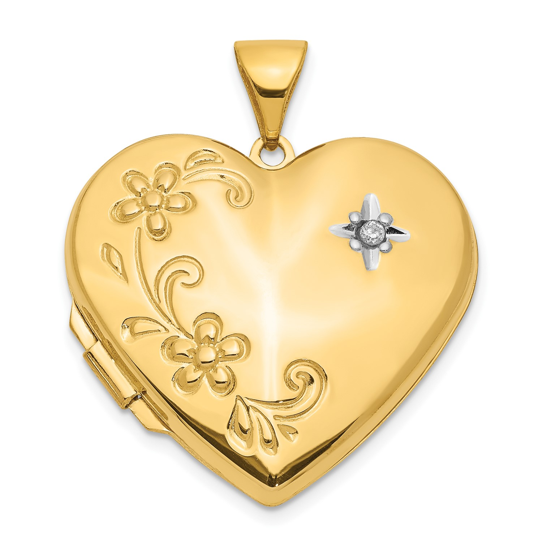 49ea7947fa 14k Yellow Gold Diamond Family Heart Locket for sale online | eBay