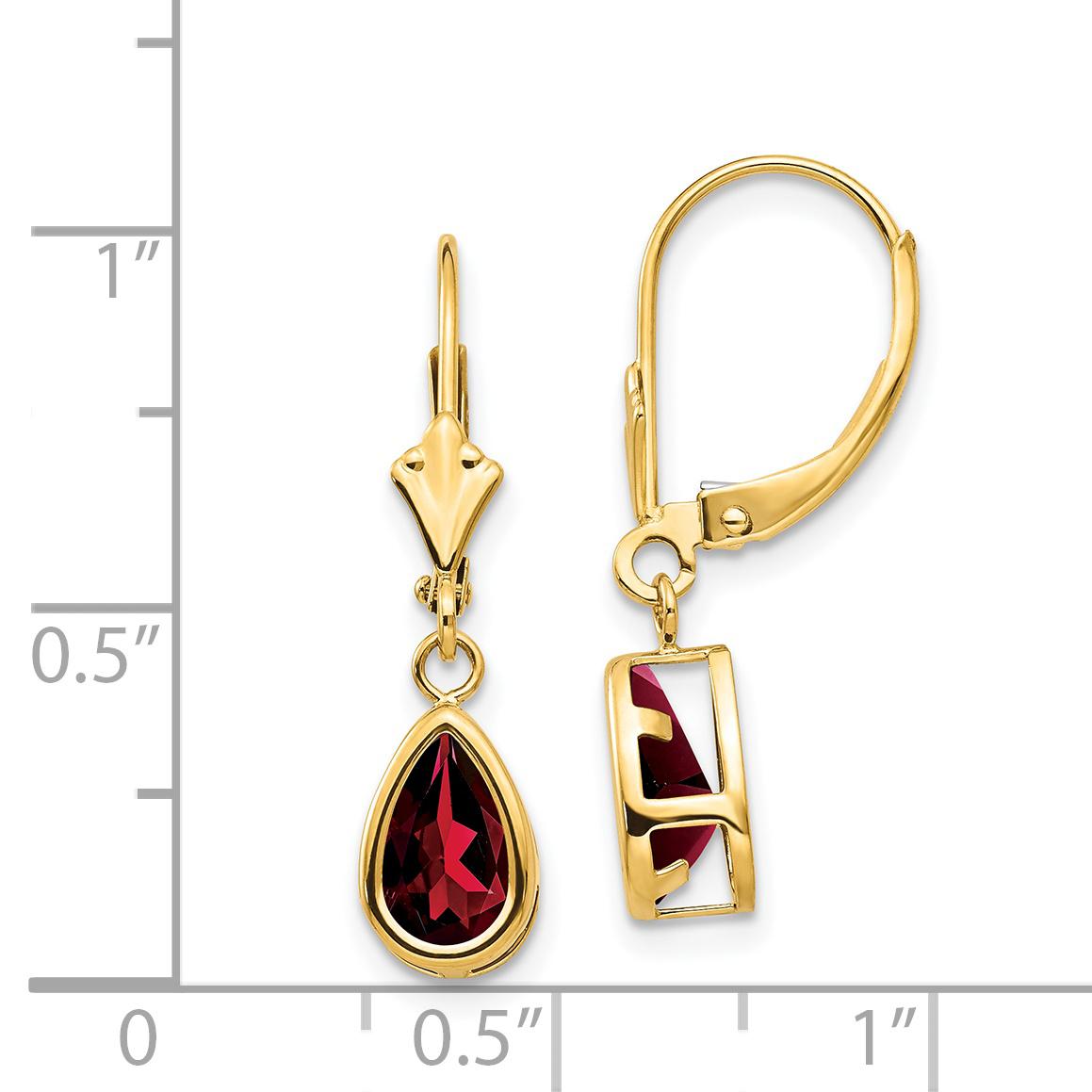 1.0 ct Grenat Coeur Boucles d/'oreilles 10K or Jaune