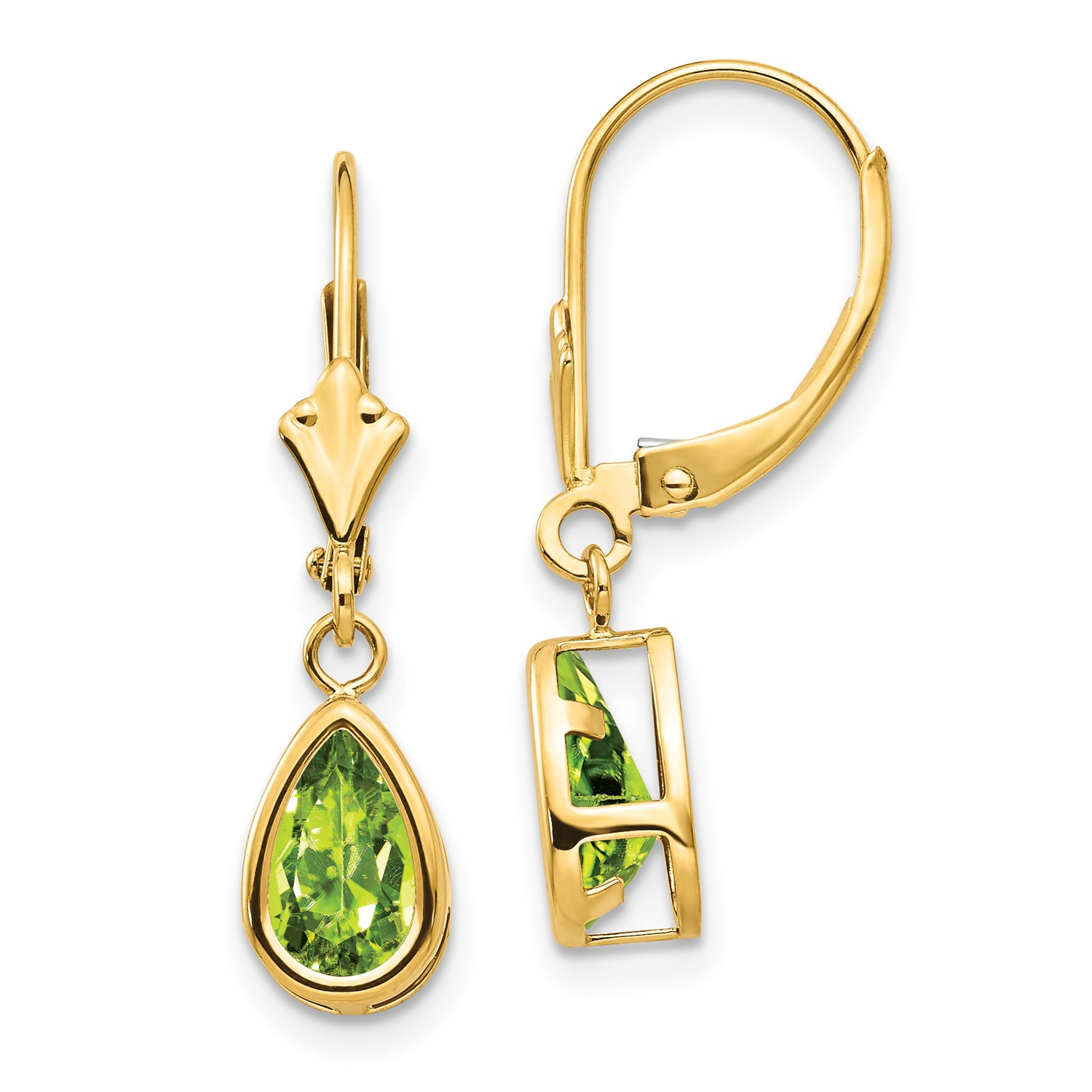 14k Yellow Gold 1 0in Long 8x5mm Pear Peridot Leverback Earrings