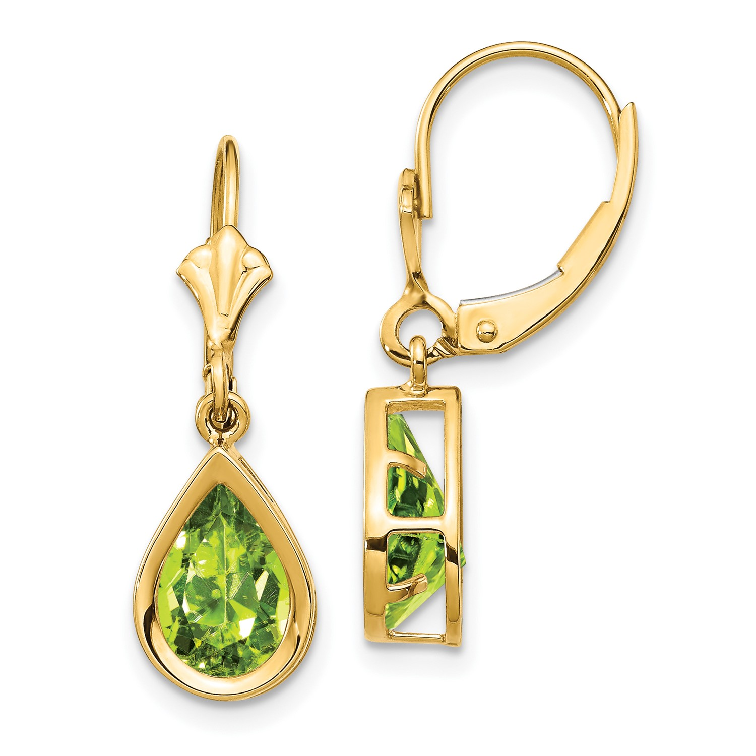 14k Yellow Gold 1 0in Long 9x6mm Pear Peridot Leverback Earrings