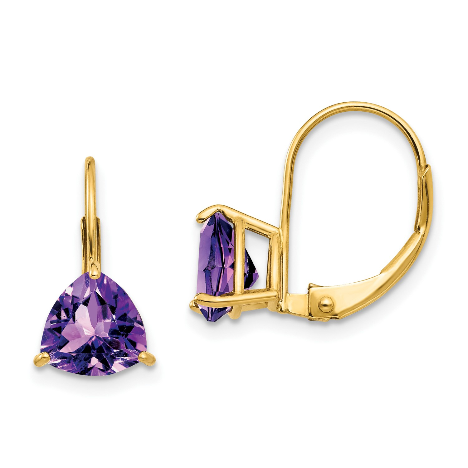 14k Yellow Gold 0 6in Long 7mm Trillion Amethyst Leverback Earrings