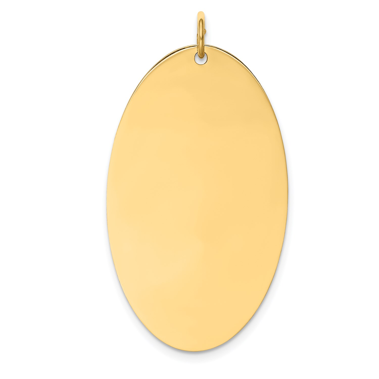 14k Yellow gold 0.027 Gauge Engravable Elliptical Disc Charm (1.5in x 0.8in)